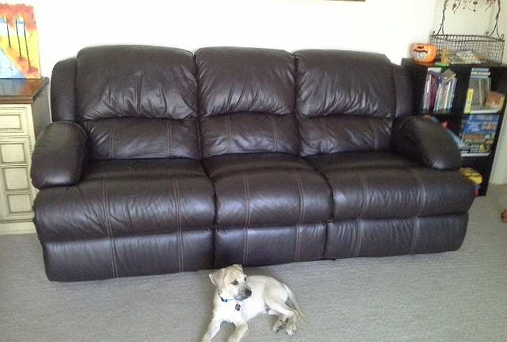 This brown leather couch is now repaired!