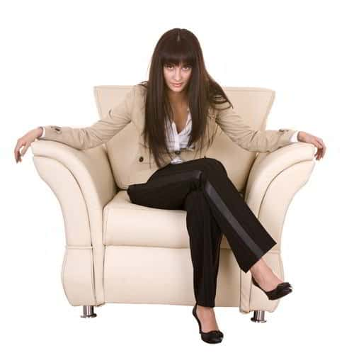 Woman in a Leather Chair about Leather Furniture