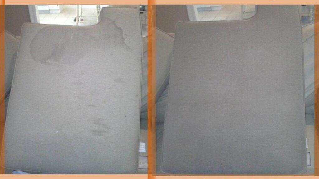 Nasty stain cleaned on this gray fabric upholstery.
