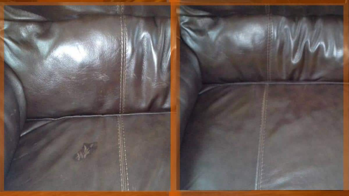 Flea medicine damage on a leather couch