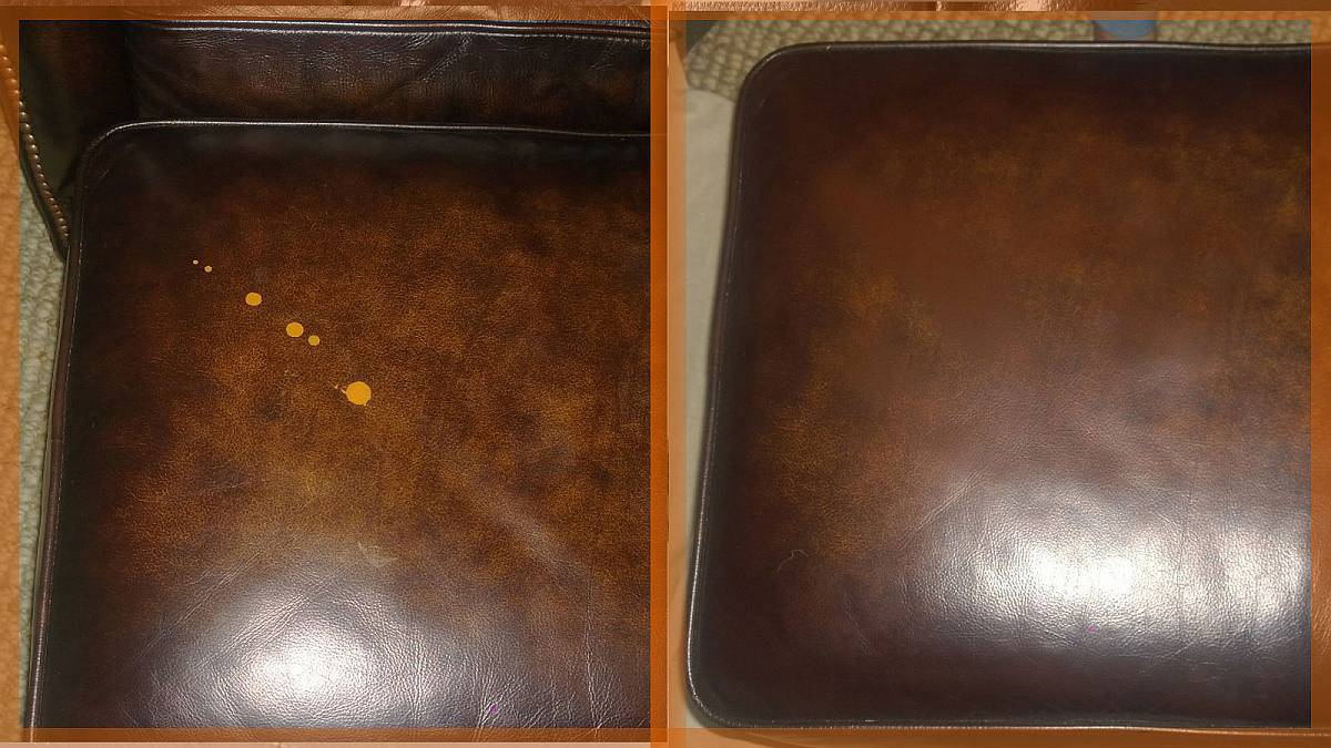 Paint splatters on a leather cushion