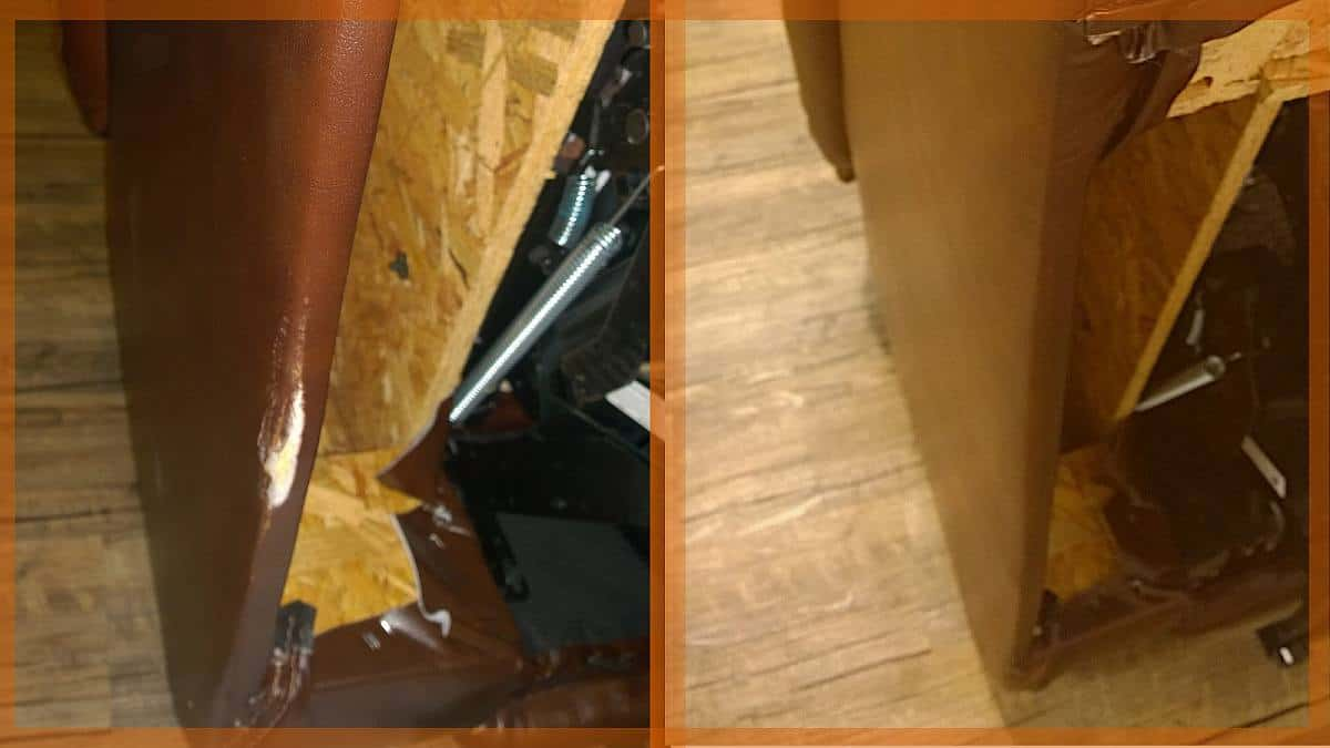 Leather Recliner Edge Damage Repaired