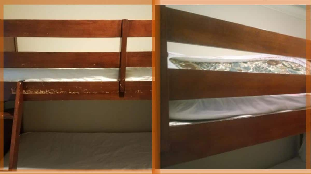 Renters made a mess of the wood on this bunk bed.